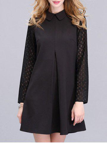 Outfit Trendy Peter Pan Collar Spliced Solid Color Women's Dress BLACK XL