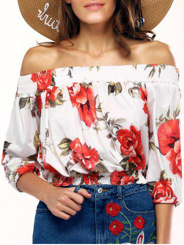 New Stylish Off The Shoulder Floral Print Blouse For Women