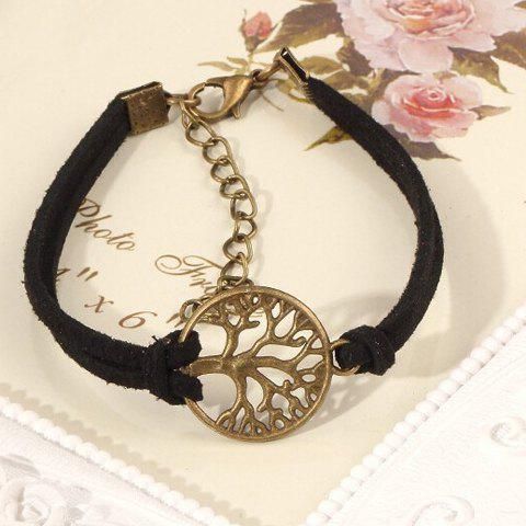 Shops Bohemian Style Faux Suede Emboss Cut Out Tree Bracelet For Women - BLACK  Mobile