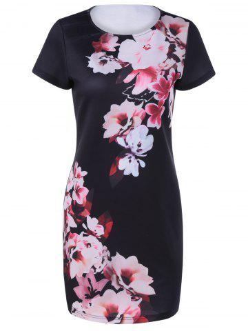 Latest Fashionable Round Collar Short Sleeves Printing Dress For Women BLACK XL