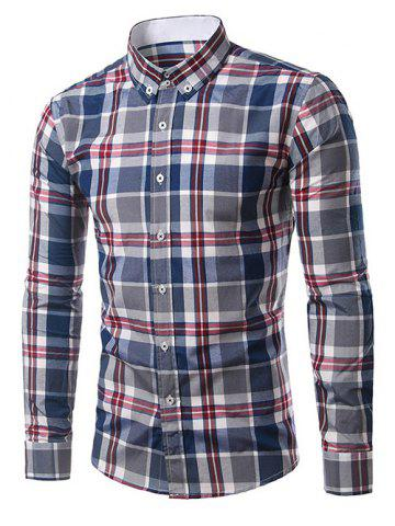 Store Classic Turn-Down Collar Long Sleeve Deep Blue Plaid Shirt For Men