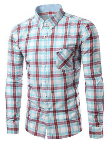 Outfits Chic Folded Pocket Long Sleeve Light Blue and Red Tartan Shirt For Men BLUE AND RED 3XL