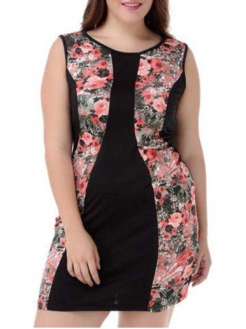 Cheap Plus Size Sleeveless Floral Dress COLORMIX 4XL