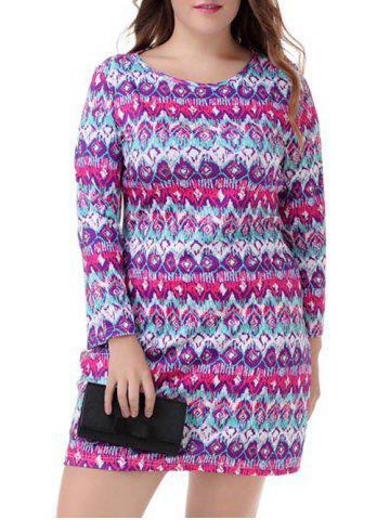 Store Plus Size Ethnic Long Sleeve Dress COLORMIX 4XL