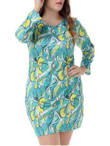 Trendy Plus Size Long Sleeve Tee Dress - XL COLORMIX Mobile
