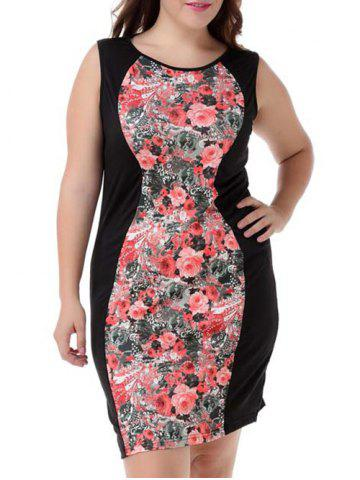 Online Plus Size Elegant Sleeveless Floral Dress