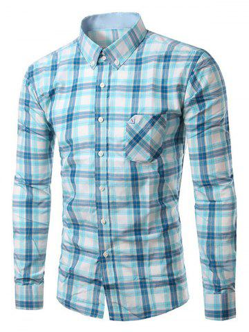 Best Chic Folded Pocket Long Sleeve Light Blue Tartan Shirt For Men