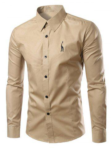 Shops Brief Style Turn-Down Collar Slim Fit Long Sleeve Shirt For Men