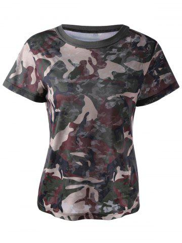 Hot Fashionable Short Sleeves Round Collar Camo Printing T-Shirt For Women