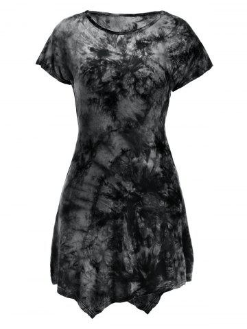 Store Short Sleeve Round Neck Tie-Dyed Asymmetric Dress BLACK L