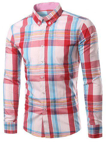 New Classic Turn-Down Collar Long Sleeve Pink Plaid Shirt For Men - XL PINK Mobile