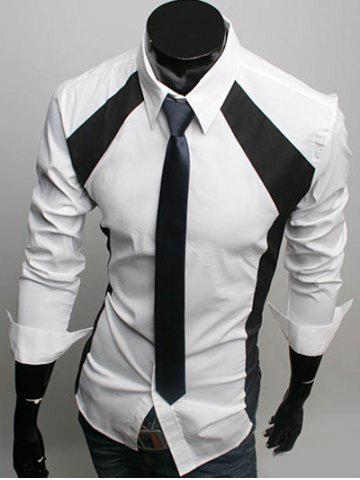 Chic Turn-Down Collar Color Block Spliced Slimming Long Sleeve Shirt For Men