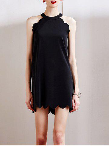 Fashion Stylish Round Neck Sleeveless Full Black Women's Dress