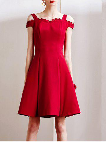 Latest Stylish Sweetheart Neck Red Cut Out Women's Dress