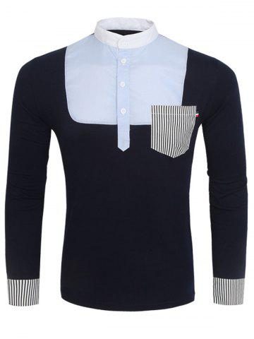 Store Stand Collar Color Block and Stripe Splicing Design Long Sleeve T-Shirt For Men