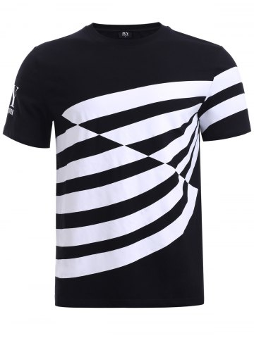 Discount BoyNewYork Color Block Stripes T-Shirt - L BLACK Mobile