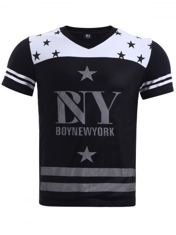 Shops BoyNewYork Hit Color Stripes Star Pattern T-Shirt BLACK XL