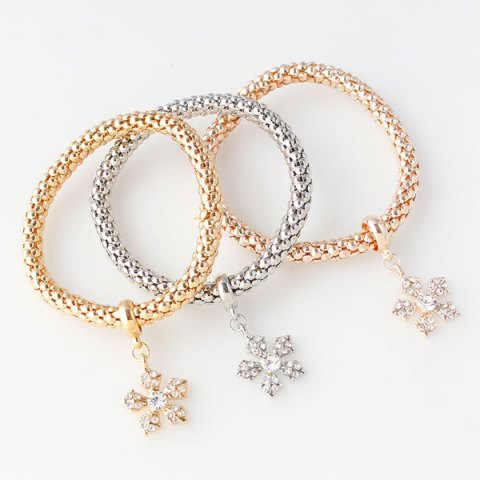 Discount Rhinestoned Floral Layered Bracelets - COLORMIX  Mobile