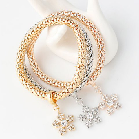 Chic Rhinestoned Floral Layered Bracelets - COLORMIX  Mobile