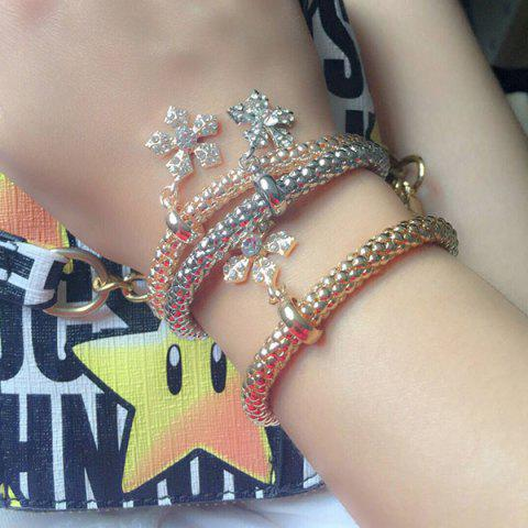 Shop Rhinestoned Floral Layered Bracelets - COLORMIX  Mobile