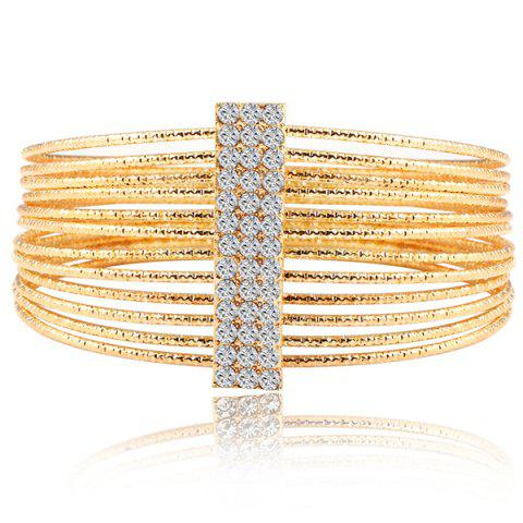 Shop Multilayered Gold Plated Textured Rhinestone Strand Bracelet GOLDEN