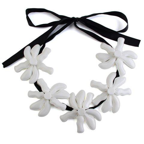 Ribbon Blossom Statement Necklace - White