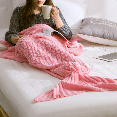 Handmade Knitted Home Decor Mermaid Tail Blanket - Pink - L