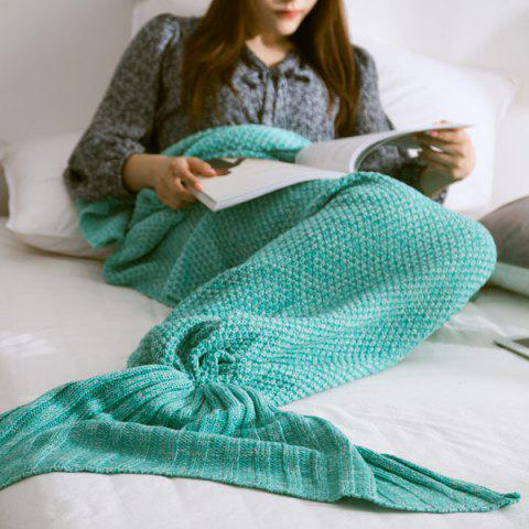 Buy Handmade Knitted Home Decor Mermaid Tail Blanket MINT GREEN L