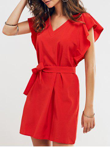 Fancy Cap Butterfly Sleeve A-Line Dress RED XL