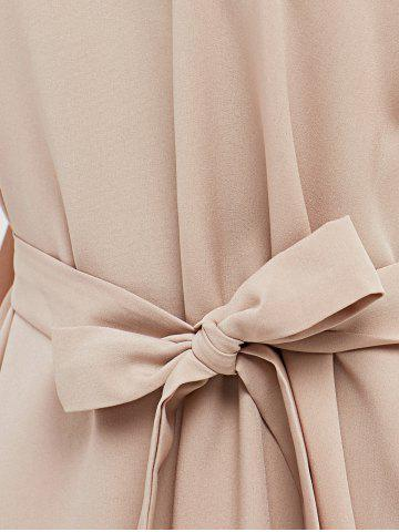 Cheap Cap Butterfly Sleeve A-Line Dress - L APRICOT Mobile