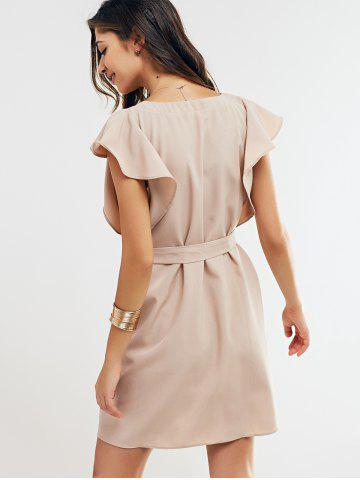 Fashion Cap Butterfly Sleeve A-Line Dress - L APRICOT Mobile