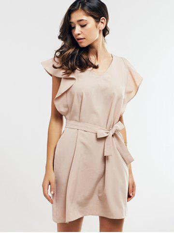 Outfits Cap Butterfly Sleeve A-Line Dress - L APRICOT Mobile