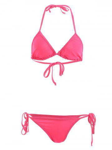 Stylish Halterneck Solid Color String Bikini Set For Women - Watermelon Red - S