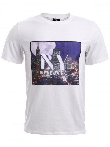 Hot BoyNewYork 3D City Building Printed T-Shirt - L WHITE Mobile