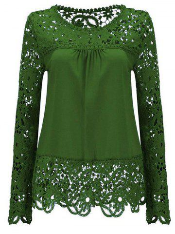 Trendy Solid Color Lace Spliced Hollow Out Blouse GREEN M
