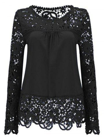 Buy Solid Color Lace Spliced Hollow Out Blouse BLACK 3XL
