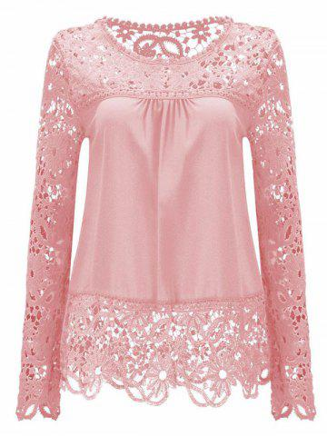 Hot Solid Color Lace Spliced Hollow Out Blouse PINK L
