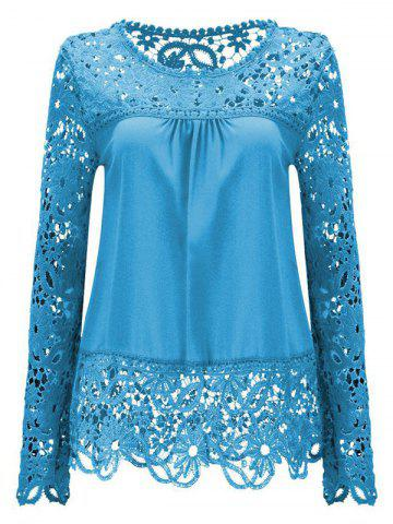 Discount Solid Color Lace Spliced Hollow Out Blouse AZURE XL