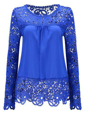 Latest Solid Color Lace Spliced Hollow Out Blouse DEEP BLUE M