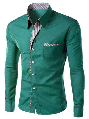 Unique Stripe Panel Casual Long Sleeve Military Shirt GREEN M