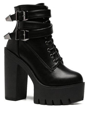 Outfit Trendy Tie Up and Double Buckle Design Short Boots For Women