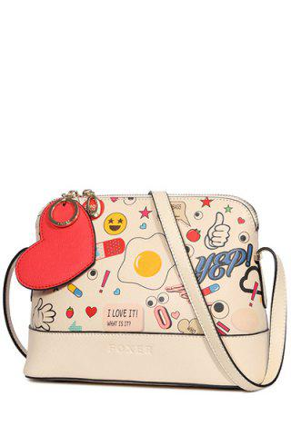 Affordable Doodle Crossbody Bag - BEIGE  Mobile