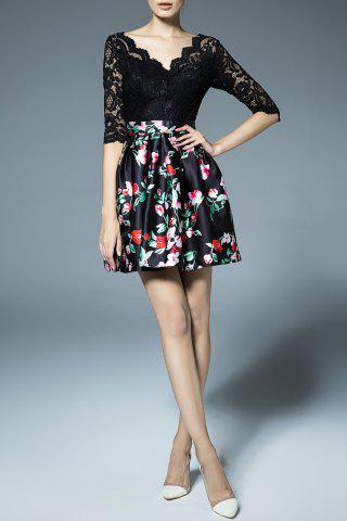 Flower Print Lace Splicing Dress