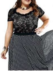 Plus Size Chic Lace Patchwork Layered Blouse - Noir XL
