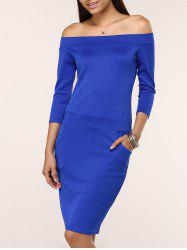 Off The Shoulder Midi Bodycon Dress -