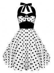 Vintage Halter Polka Dot Backless Dress - Blanc