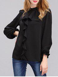Fashionable Front Frilled Chiffon Blouse For Women