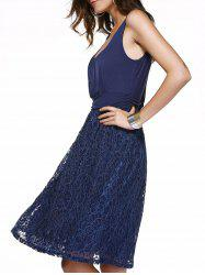 Embroidery Lace Splicing Tank Dress - PURPLISH BLUE