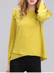 Chic Women's Pure Color Ruffled Long Sleeves Blouse