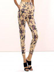 Refreshing Floral Print Skinny Pants For Women